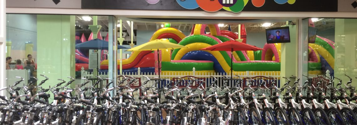Bicycle's are being awarded in the Pine Ridge Mall at Jump In